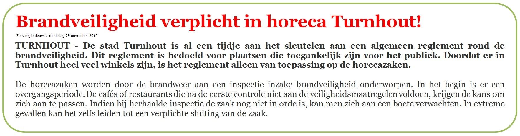 Brandveiligheid verplicht in horeca Turnhout